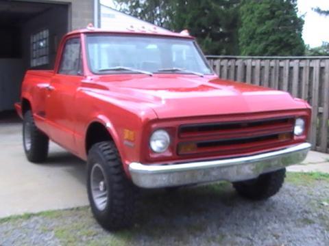 1968 Chevrolet C/K Truck Shortbed Stepside 4X4 in Red