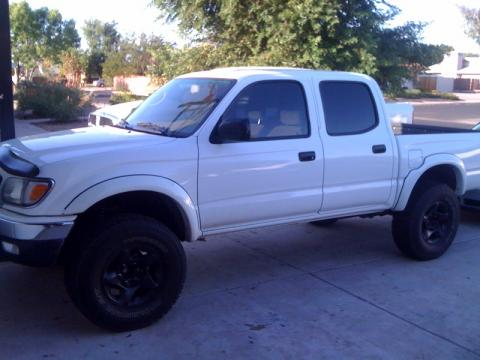 Super White 2003 Toyota Tacoma V6 TRD Double Cab 4x4 with Oak interior 2003