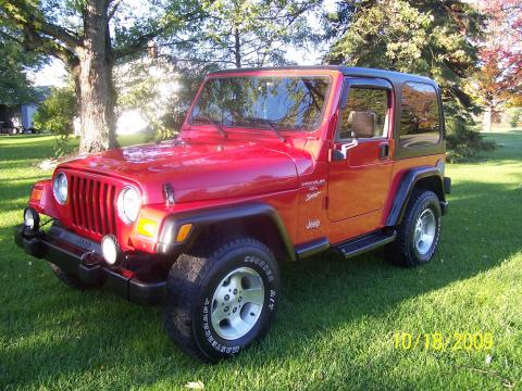 2000 Jeep Wrangler Sport 4x4 in Flame Red