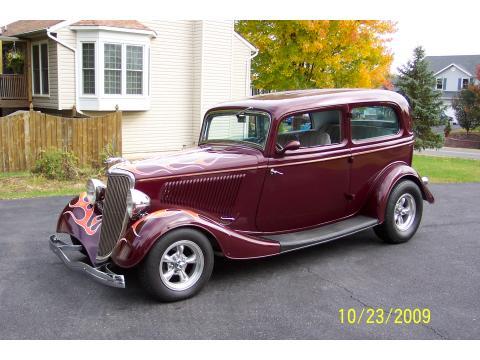 1934 Ford Model B 2 Door Sedan in Dark Maroon with Flames