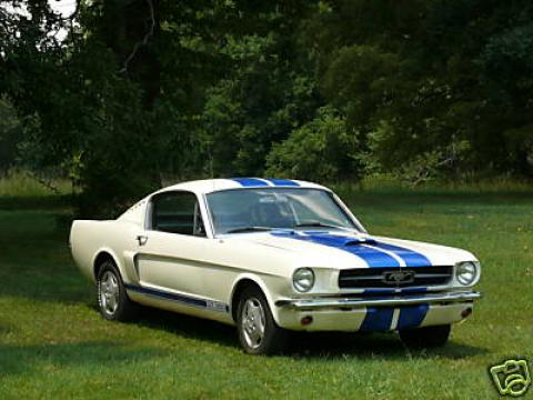 1965 Ford Mustang Fastback in Wimbledon White/Blue Stripes
