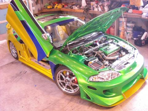 1996 Mitsubishi Eclipse GS-T Turbo Coupe in House Of Kolor Planet Green/Lime Candy