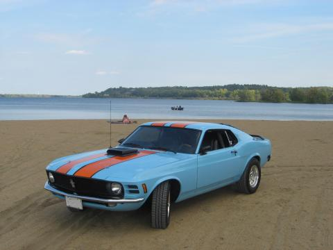 1970 Ford Mustang Fastback in Powder Blue & Tangerine