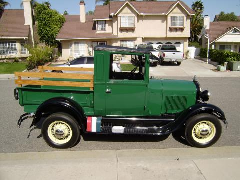 1929 Ford Model A Closed Cab Pickup in Green/Black Fenders