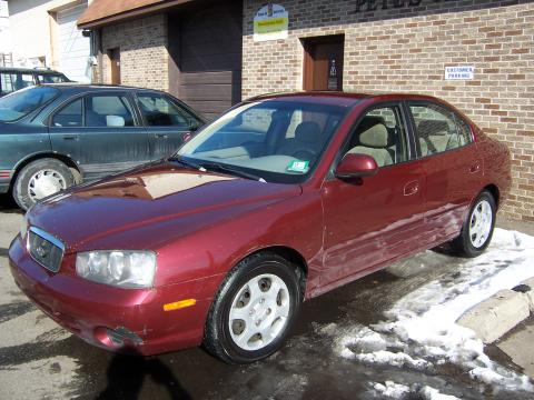 2002 Hyundai Elantra GLS Sedan in Chianti Red