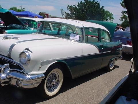 1956 Pontiac Chieftain 2 Door Coupe in Green/White