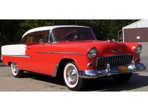 1955 Chevrolet Bel Air 2 Door Hard Top in Red/White