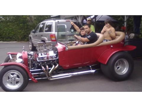 1923 Ford T Bucket Roadster in Red with Ghost Flames