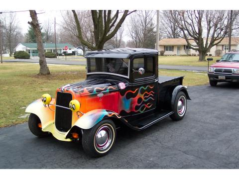 1934 Ford Pickup Street Rod in Black/Flames
