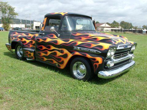 1959 Chevrolet Apache Pro Street Truck in Black w/Flames