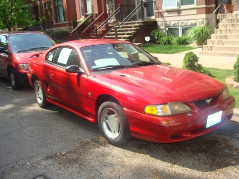 1997 Ford Mustang V6 Coupe in Rio Red