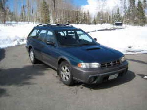 Spruce Green Pearl 1999 Subaru Legacy Outback Wagon with Gray interior 1999