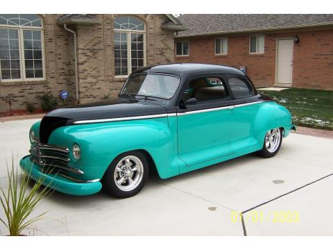 1948 Plymouth Club Coupe Street Rod in Black/Aqua