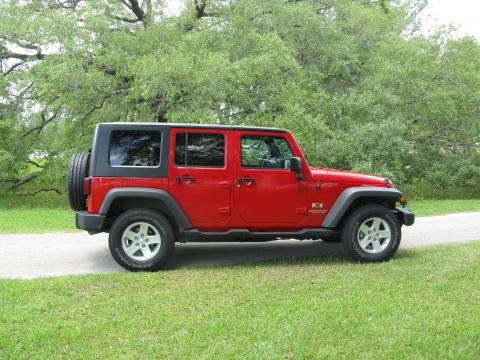 Flame Red 2008 Jeep Wrangler Unlimited X 4x4 with Dark Slate Gray/Med Slate
