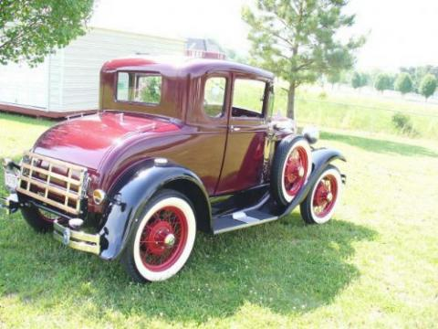 1931 Ford Model A Deluxe 5 Window Coupe in Burgundy