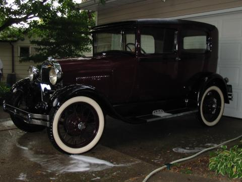 1929 Ford Model A Tudor Sedan in Burgundy